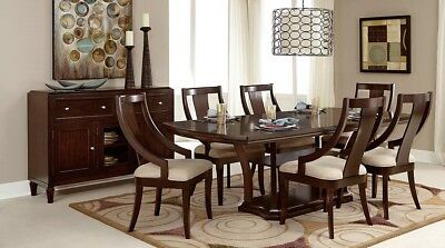 7pc Dining Room Set Cherry Finish Table 6 Side Chairs Furniture Antique Look