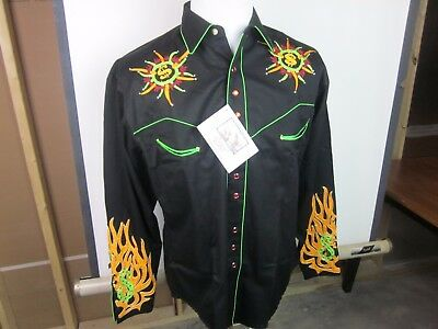 "Rockmount Men's LS Western Shirt Medium Larry Winget ""Money To Burn"" NEW"