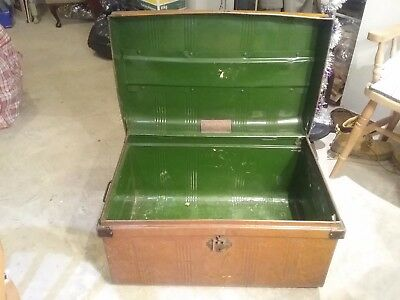 vintage steel travelling trunk Warranted best steel Japanned