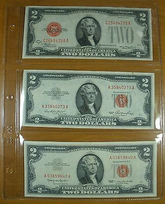 SIX $2 United States Notes 3 $2 Red Seal 1928D,1953,1963 & 3 $2 Green Seal Notes