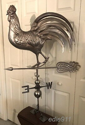 XL 3D COPPER ROOSTER Functional Weathervane w/Antiqued Metal Finish- FREE MOUNT