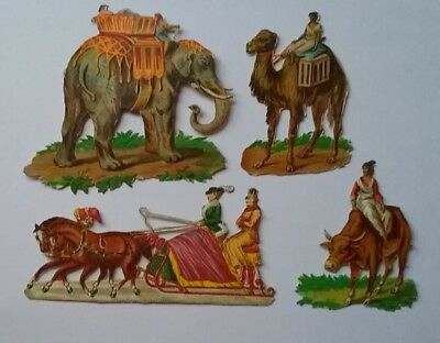 4 small Emboss diecut Victorian Scraps,forms of Transport.largest 6&1/2×5&1/2cms