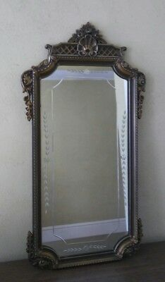 antq ART DECO reverse ETCHED bronze POLYCROME wall MIRROR 1930s EXCLNT COND