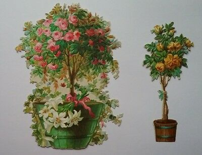 2 lovely Diecut EmbossVictorian Scraps Standard Rose Trees in barrels,