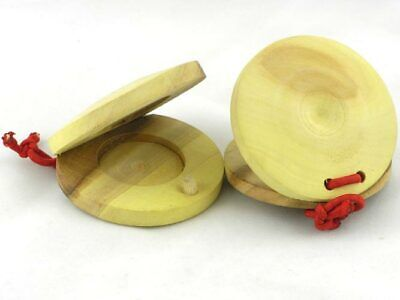 2 x WOODEN CASTANETS castanet wood flamenco spanish percussion clackers NEW