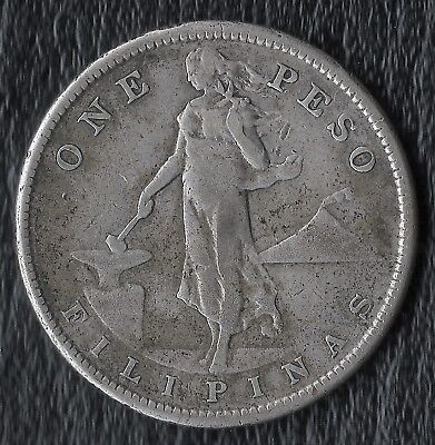 1908-S  Philippines One Pesos Silver Coin  -   Circulated  No Damage Or Cleaning