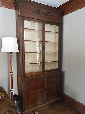 "Pharmacy Cabinets ""Matched Pair"" Display Case Back Bar China Cabinet Wavy Glass"