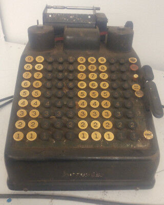 Vintage Burroughs Portable Adding Machine Calculator Bakelite Buttons