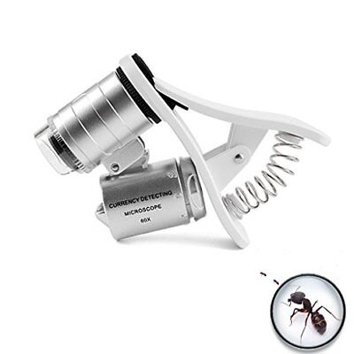 60X Optical Zoom Microscope Magnifier Phone Camera Lens Iphone Samsung Clip Led