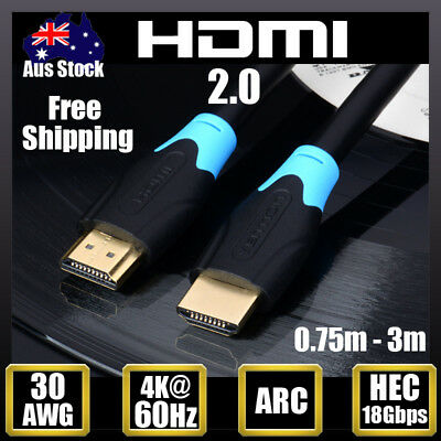 HDMI 2.0 Cable 4K@60hz UltraHD 3D Gold Plated High Speed Ethernet 18Gbps ARC HEC