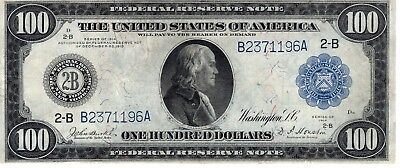 1914 US FEDERAL RESERVE LARGE NOTE $100 New York High Grade