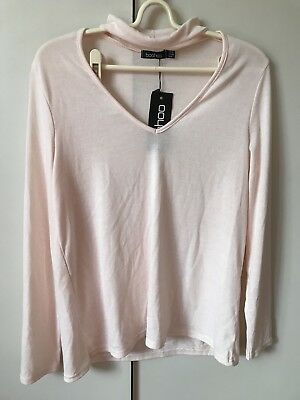 Boohoo Diana Choker Plunge Neck Knitted Jumper Top SiZe 12 Nude Pink NWT