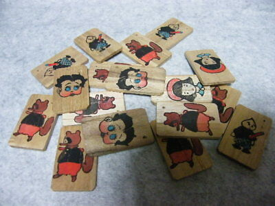 Vintage Japanese Betty boop and other wooden plate 1940s 11I-15