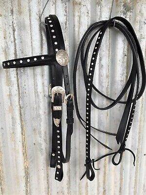 Western Horse Bridle and Split Reins - Black Leather with Diamonties - FULL