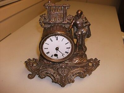 19Th C Spelter/ Ormolu French  Clock For Spares /  Repair
