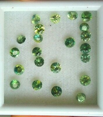 3-4mm yellow/green heated sapphires