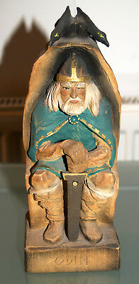 Hand carved wooden ODIN STATUE Norse Pagan Henning Norway