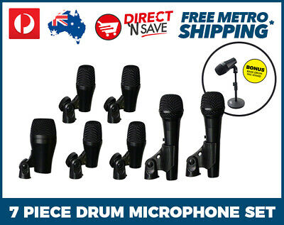 7 Piece Drum Microphone Kit Home Recording Studio Live Performance Percussion