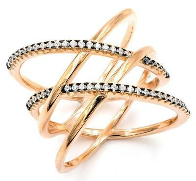 Sterling Silver 925 Rose Gold Plated Double X Cz Ring