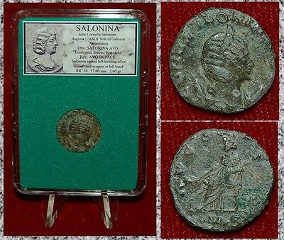 Ancient Roman Empire Coin SALONINA Empress Seated Holding Olive Branch Reverse