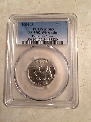2004-D, PCGS MS65, Wisconsin Quarter, Extra Leaf Low Variety.
