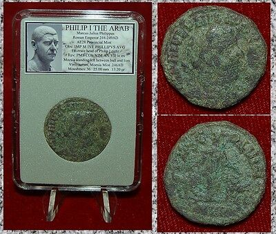Ancient Coin Philip I The Arab Moesia Bull And Lion On Reverse Large Bronze Coin