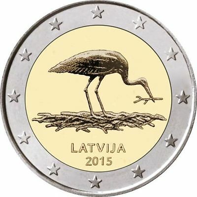 Latvia 2015 year STORK, 2 Euro from  BANK ROLLS, UNC