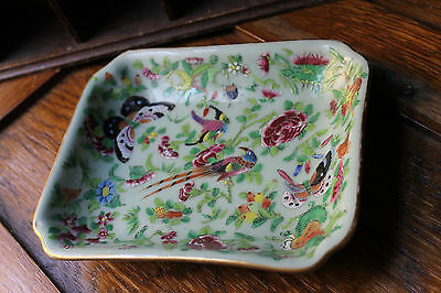 ANTIQUE 19TH CENTURY CHINESE FAMILLE ROSE HAND PAINTED PORCELAIN DISH c1890