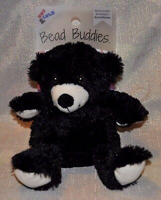 Bead Buddies Black BEAR Plush Aromatherapy Lavender Scent Hot Cold Therapy NEW