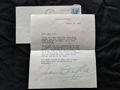 JOAN CRAWFORD Original Autograph Signed Personal Letter March 14, 1967