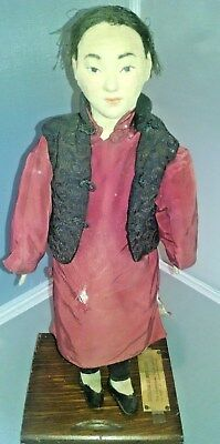 """Antique Young Man of North China Doll - 14"""" Cloth Like Material - Early 1900's"""