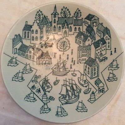"Scandinavian Pottery Nymolle Art Faience, Limited ""Seaport Scene""  Demark Hoyrup"