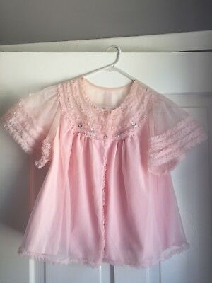 VINTAGE FRASON Peignoir 1960'S PINK Rose Bed Jacket Lolita Cult Party Kei