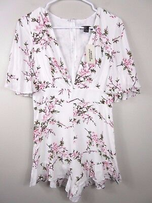 Forever 21 NWT Women's Romper Shorts Pink Blossoms Ruffles Rayon Size Small S
