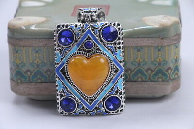 Old Decorated Handwork Miao Silver Carving Inlay Zircon Pendant bb283