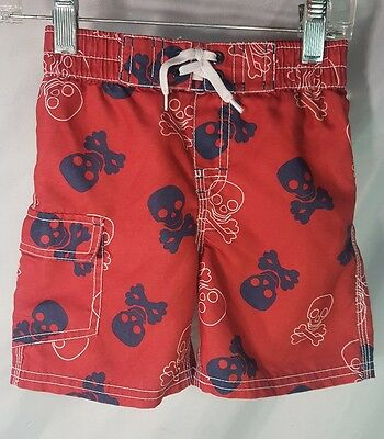 Crazy 8 swim trunks Red Skulls 18 24 months EUC pirate bathing suit cool eight