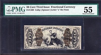 US 50c Fractional Currency w/ Wide Surcharge & 'a' SCARCE! FR 1369 PMG 55 Ch AU