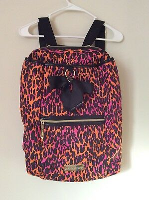Betsey Johnson Cheetah Print Backpack, Pink/Orange w/bow. *New cond. never used