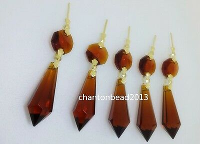 38Mm+14Mm Large Amber Chandelier Glass Crystals Lamp Prisms Parts Hanging Drops