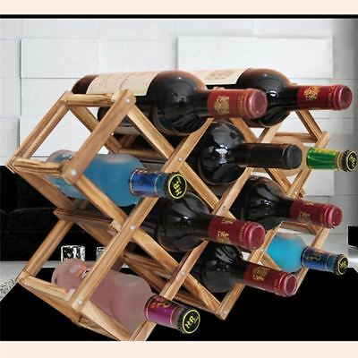Foldable Wooden Wine Beer Rack 10 Bottle Holder Bar Shelf Organizer Table Decor
