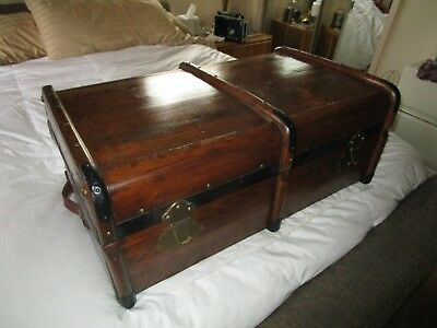 Antique HEAVY grained WOOD SUITCASE,COFFEE TABLE metal banded BRASE LOCKS