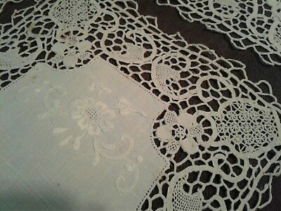 Hand Made Antique 19th Century Crocheted Lace Embroidered 6 Linen Placemat Set