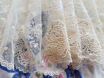 """Antique Needle Net Lace 6 1/2"""" Wide x 1 Yard French Doll Dress Flounce Trim"""