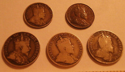 1903- 1910 Canada coins 5 cent & 10 cent LOT of 5 coins Edward 7th 92.5% silver