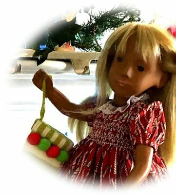 "Sasha Smocked Christmas Candy Canes Outfit! 16-17"" Doll"
