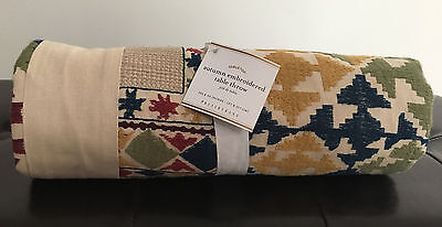 "Pottery Barn Autumn Embroidered Fall Table Throw, 50""x50"" New w/ Tags $149"
