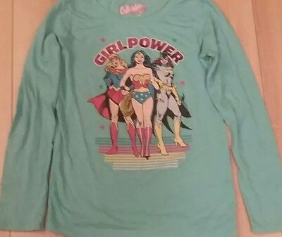 Old Navy Wonder Woman Girl Power Shirt Large 10/12 girls Blue Collectabilitees