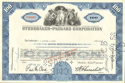 Studebaker Packard > old automobile car stock certificate 100 share blue