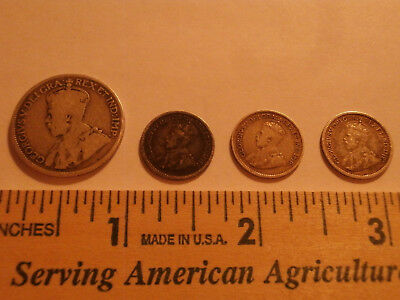 1912 - 1919 Canada 5 cent and 25 cent 92.5% silver George V  LOT 4 COINS