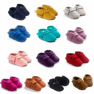 04ceda0e8fb US Baby Infant Soft Sole Crib Shoes Boy Girl Suede Moccasin Prewalkers Shoes